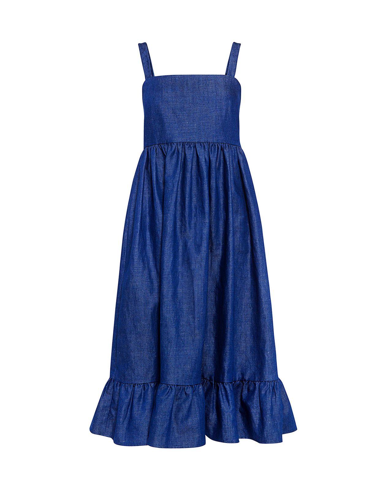 Co Ruffled Denim Dress Dresses Denim Ifchic Com Denim Ruffle Dress Denim Dress Waistline Dress [ 1600 x 1250 Pixel ]