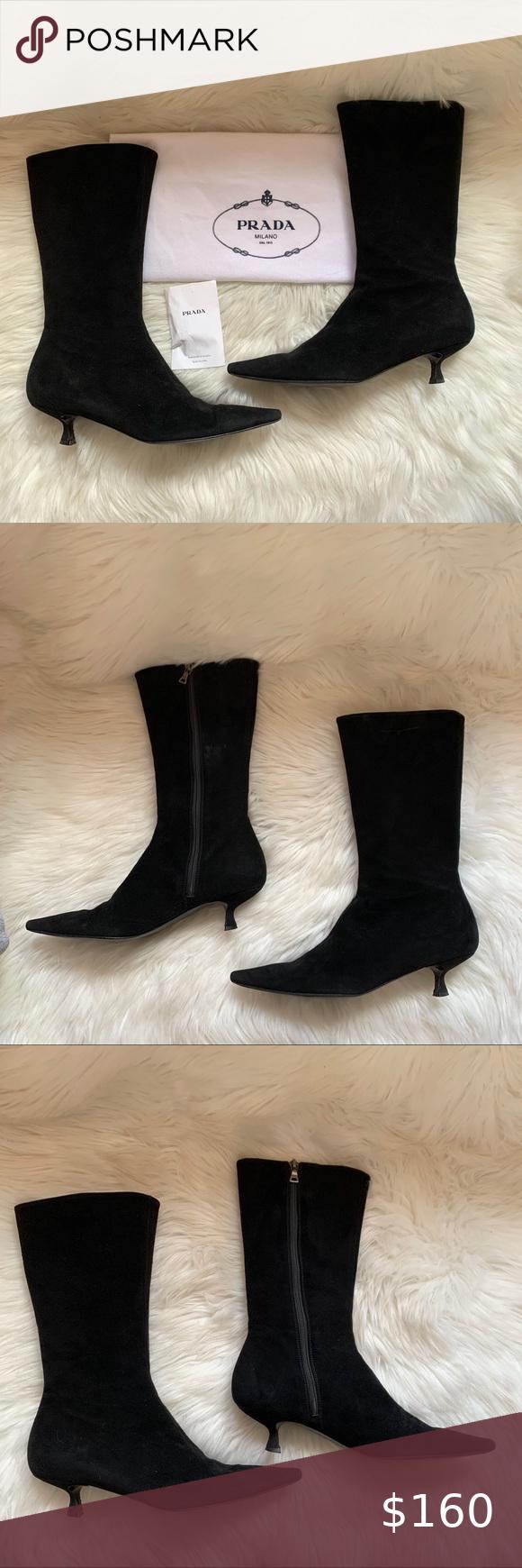 Prada Milano Suede Mid Calf Kitten Heel Boots In 2020 Kitten Heel Boots Shoes Women Heels Kitten Heels