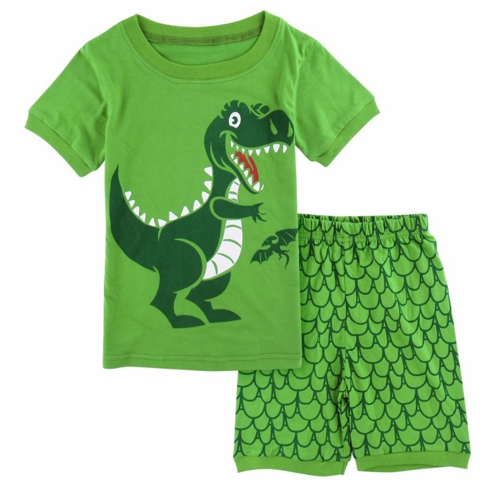 Summer Baby Boys Kids Dinosaur Short Sleeve Tops Pants Sleepwear Homewear Outfit