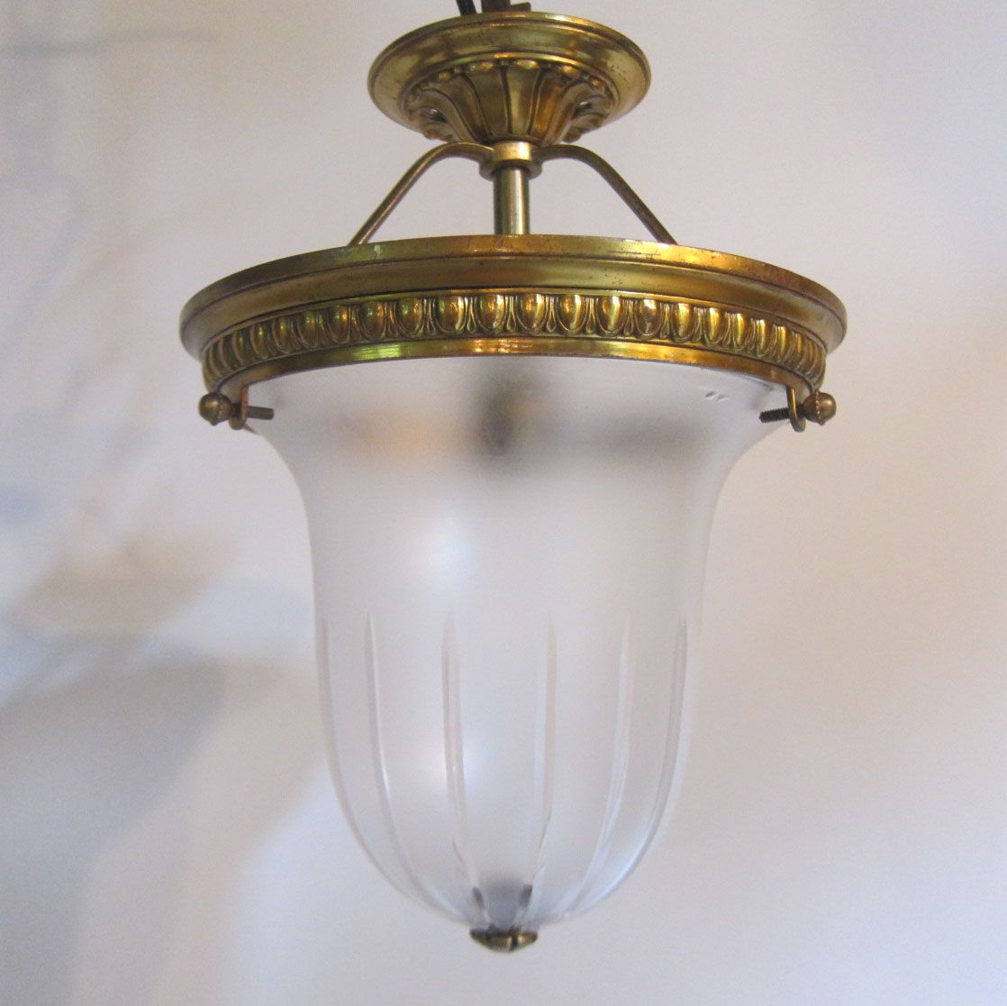 English Close Fitting Ceiling Light In The Original Gilt Brass Finish Complete With Period Satin