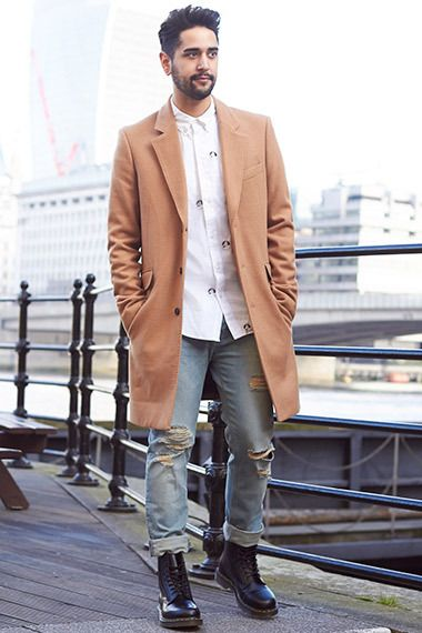 6ecba83af10 Wearing a camel coat and ripped denim jeans and white shirt  fashion  style   inspiration  mens
