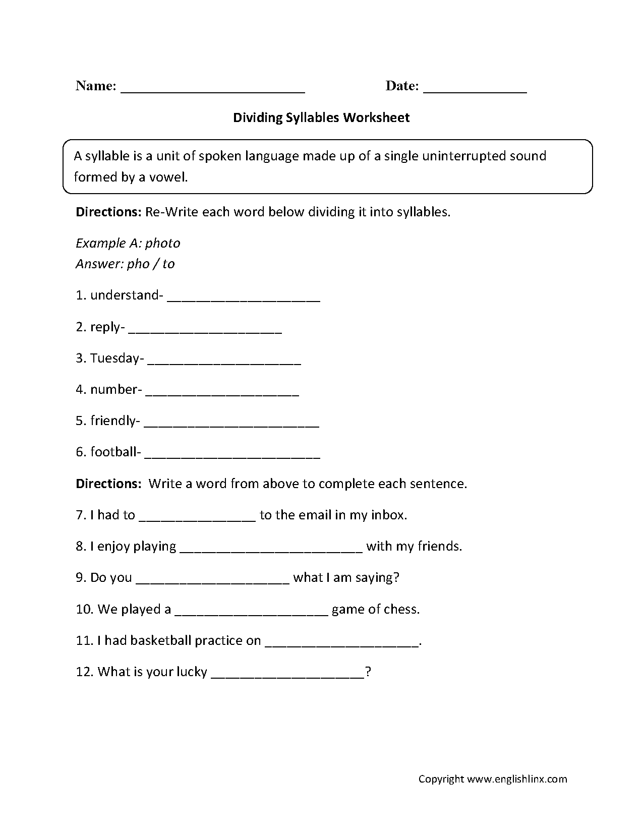 Dividing Syllables Worksheet With Images