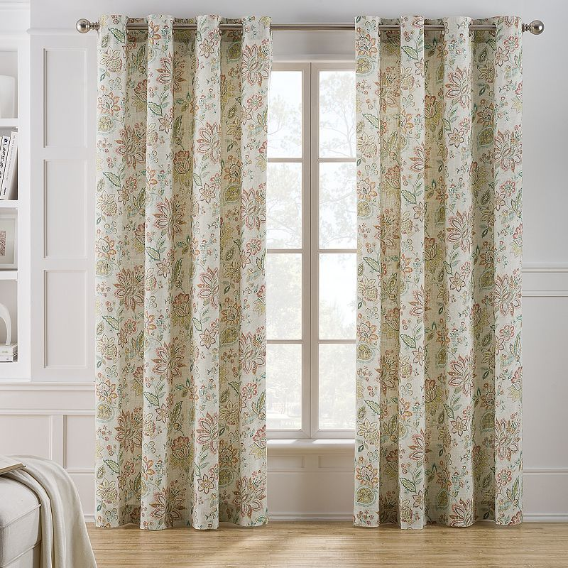 keeco clare floral window curtain | curtains, floral