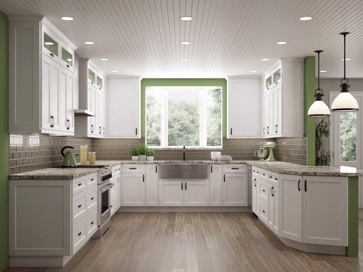 Shaker White 10x10 Kitchen In 2020 White Shaker Kitchen White Shaker Kitchen Cabinets Rta Kitchen Cabinets
