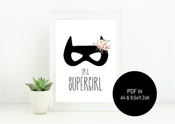 Bild fürs Kinderzimmer Supergirl mit Blumen, Bild für