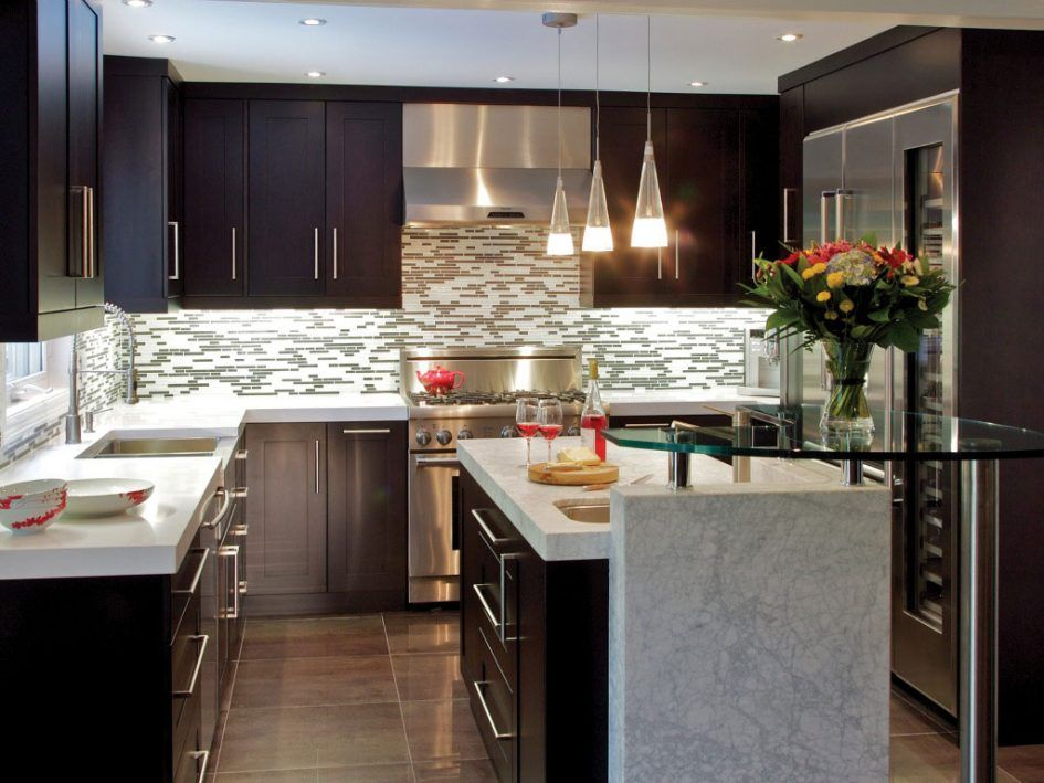 Kitchen Design, Modern Small Kitchen Design With Dark Rustic Cabinets Diy Minimalist Setting Kitchen Design With Cone Chandelier Make Your Own Minimalist Setting Of Kitchen Design With Long Rectangle Tiles Of Backsplash: Recommended Modern Small Kitchen Design, Grab it Fast!