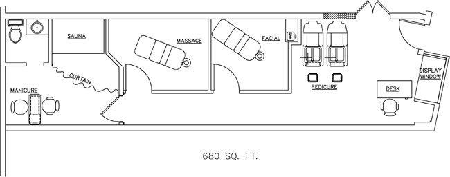Spa Floor Plan Design Layout 680 Square Feet Beauty