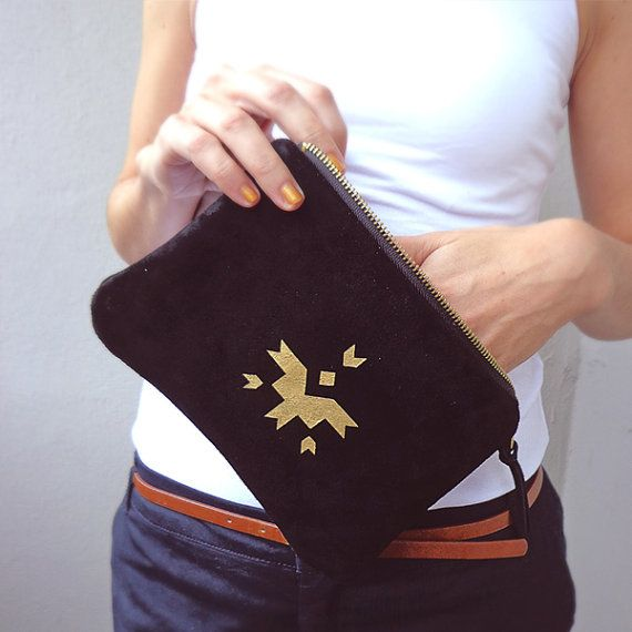 Black natural leather pouch