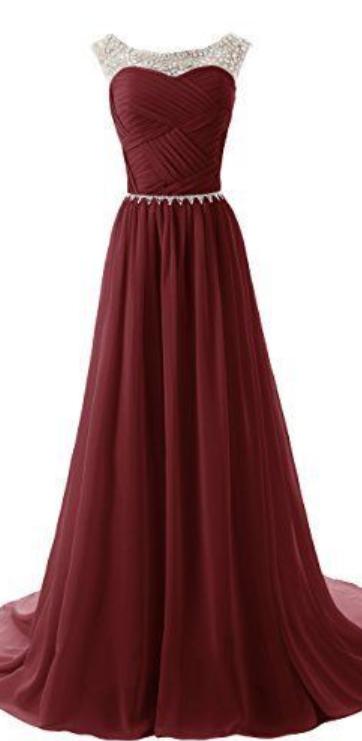 Custom Made A Line Round Neckline Maroon Long Prom Dresses 2015 Long Formal  Dresses de4887c0c