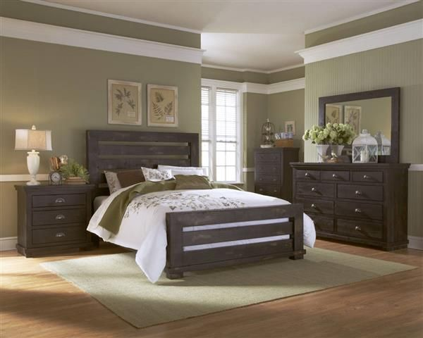 Willow Casual Distressed Black Wood 5pc Bedroom Set w/King Slat Bed