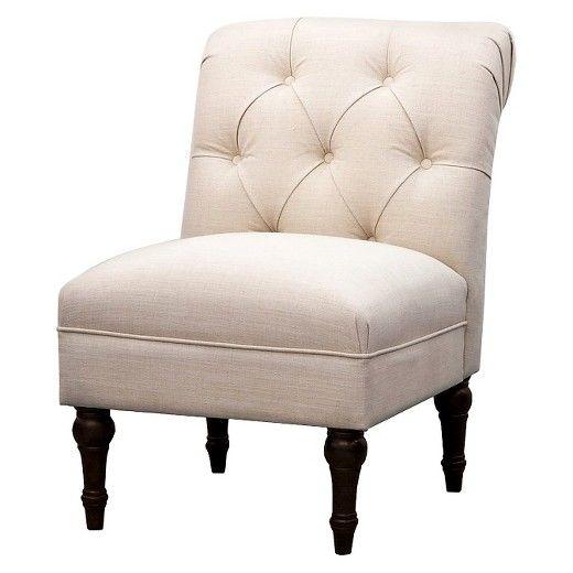 Upholstered Chair Tufted Slipper Linen   Beige   Threshold