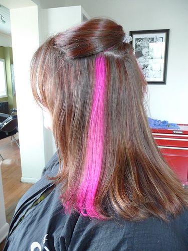 Hidden Color Streaks Hair Rockin The Pink Streak