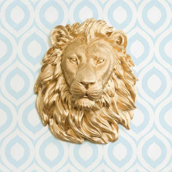 Faux Lion Head by Wall Charmers Faux Taxidermy - Wall Mounted Resin ...