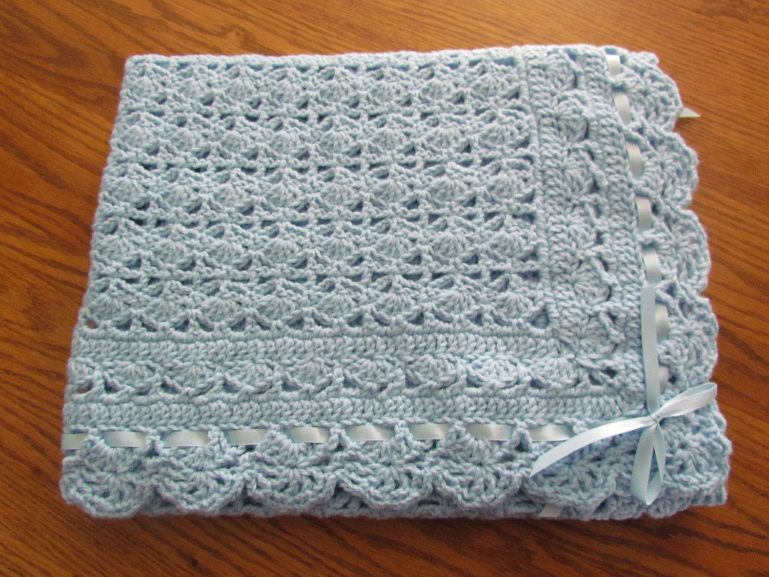Blue Baby Afghan Christening Crochet Crib Size Heirloom