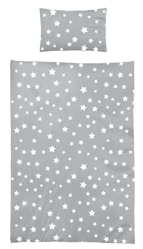 Bettwäsche 100x135 Cm Baumwolle Kinder Sterne Sternmotiv Grau Weiß