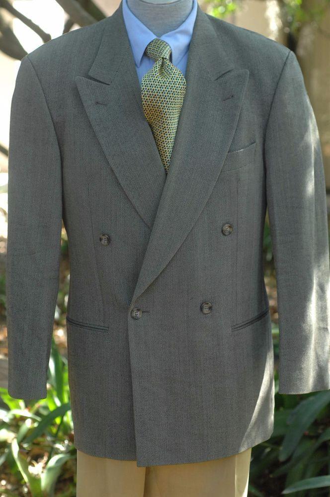 Hugo Boss $1195 Stone Brown Herringbone Wool Sport Coat Blazer 40R 40 R #HugoBoss #DoubleBreasted