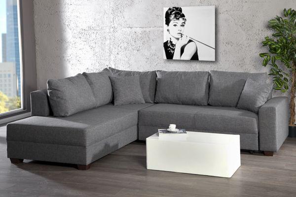 Design Ecksofa Apartment Strukturstoff Grau Federkern Sofa Schlaffunktion Riess Ambiente Onlineshop Federkern Sofa Sofa Sofa Mit Schlaffunktion