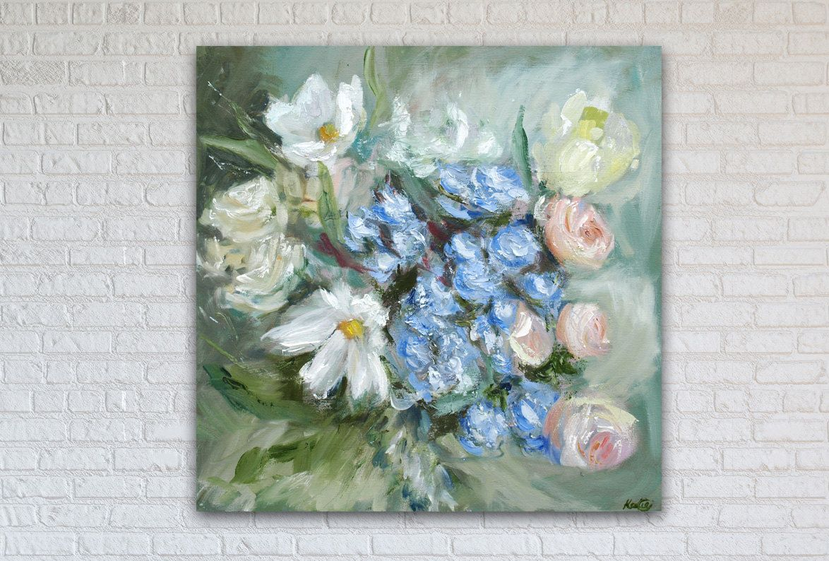 "Floral Oil Painting Art Original // ""Tiffany"" 16 x 16"" Canvas by KatieJobling on Etsy"