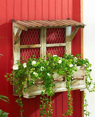 Details about Rustic Wall Hanging Planter Box Wood And Metal Country Outdoor Garden Decor #thegreatoutdoors