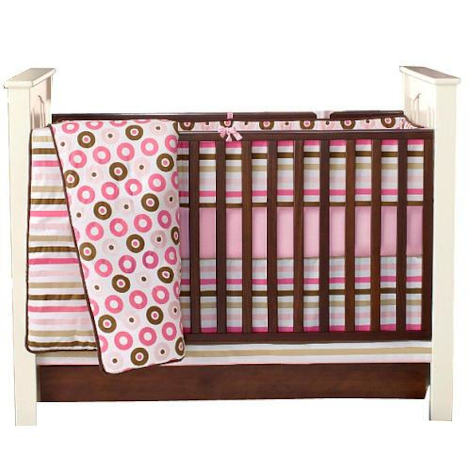 designs three ruffles tiered ruffle gray tier pink and skirt bedding large inch carousel crib skirts dust for chevron cribs