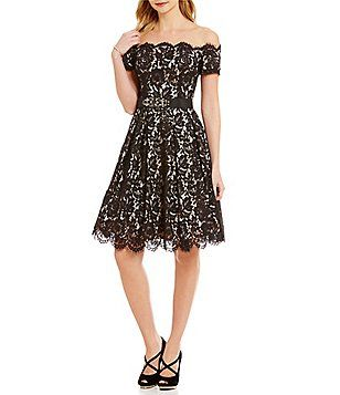 3752cadfc08ce Eliza J Off-the-Shoulder Lace Fit-and-Flare Belted Scallop Hem Dress ...