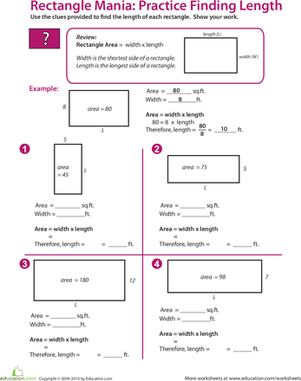 Rectangle Algebra: Find the Missing Length | Fifth grade, Articles ...