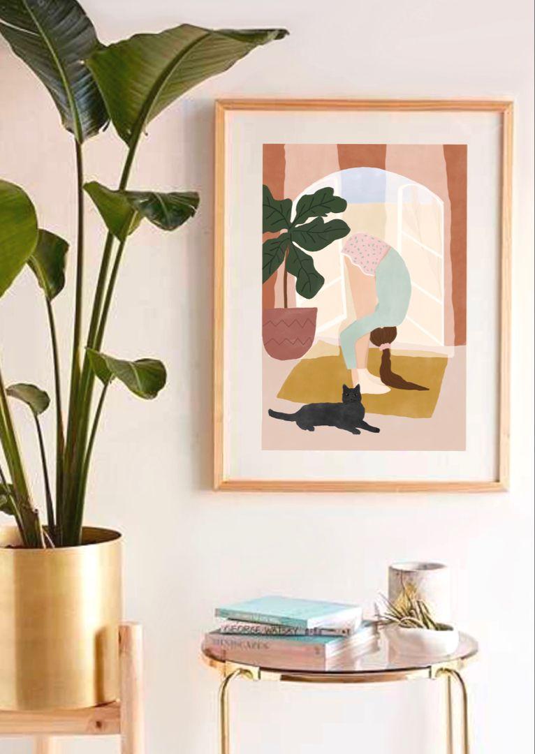 80c13542243a3 Illustration print,Yoga and cats print,yoga print, yoga studio decor ...