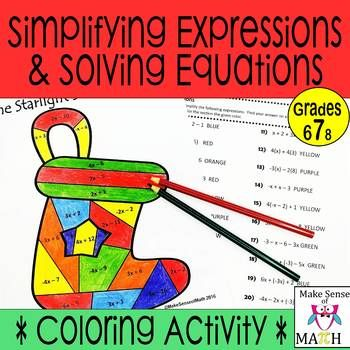 Christmas Math Activity Worksheets Simplifying Expressions ...