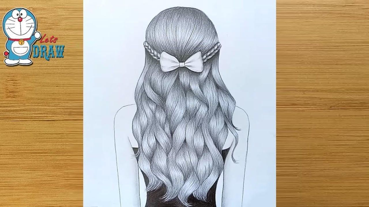 How To Draw A Girl With Wavy Hair For Beginners Wavy Hair Drawing Tutorial Penc Girl Drawing Sketches Easy Drawings Sketches Art Drawings Sketches Simple