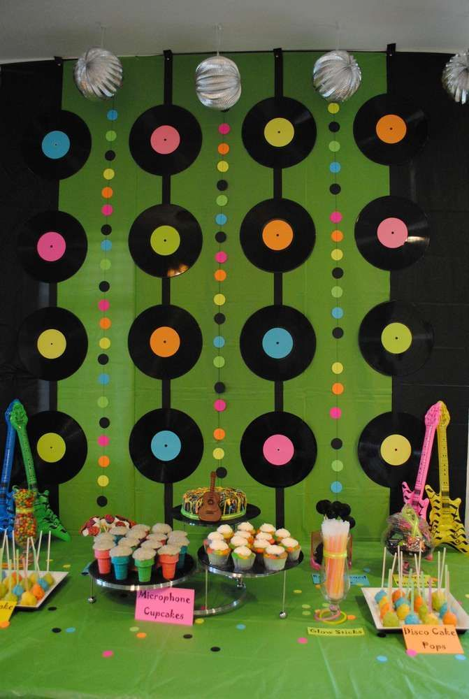 Marvelous 70s Theme Party Decorations Ideas Part - 2: Rock N Roll Birthday Party Ideas