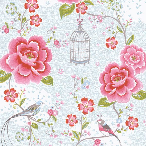Pin by susanmcarthur on wallpaper ideas pinterest room wallpaper birds in paradise pink and white wallpaper wall covering includes pink white and red flowers on a white light reflective background with birdcages and mightylinksfo