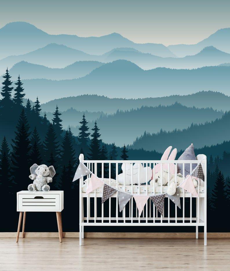 3d Mountain Mural Wallpaper Ombre Blue Mountain Pine Forest Etsy In 2021 Nursery Wallpaper Mural Wallpaper Mountain Mural