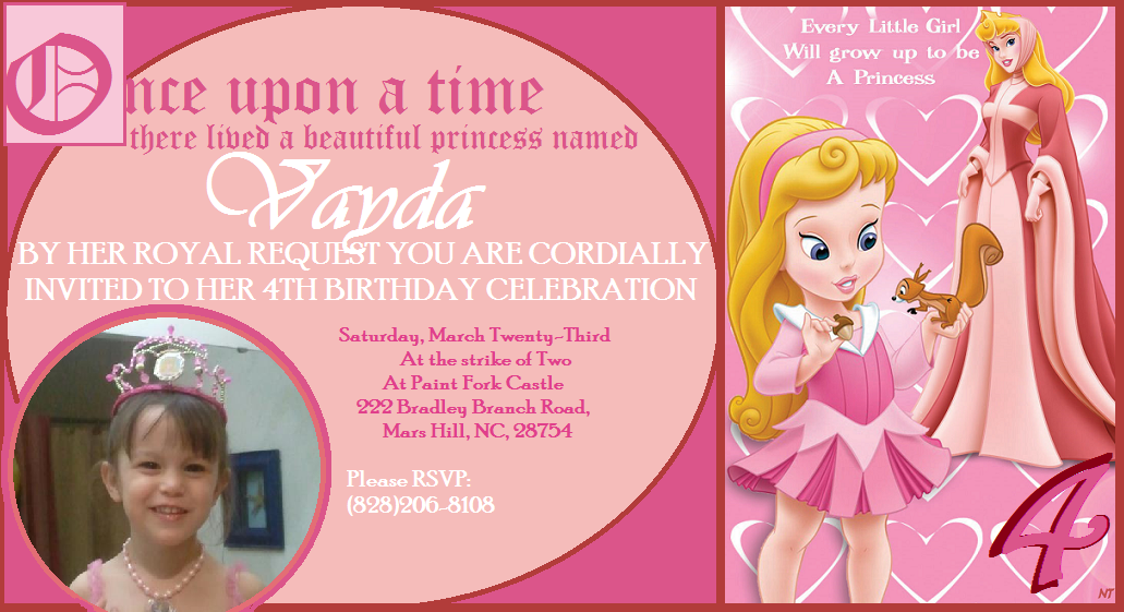 Princess Aurora (Sleeping Beauty) birthday party invitation ...