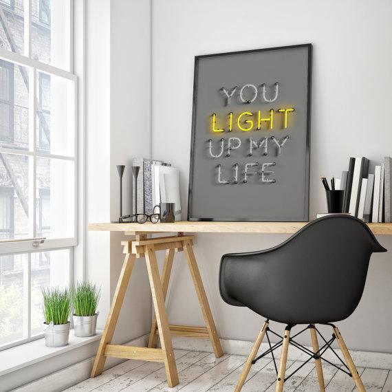 you light up my life print dorm decor 70x100 wall art modern art