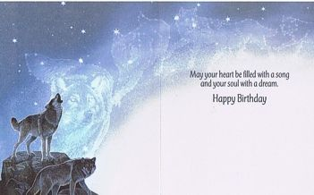 f3e521ae20d3 Heart and Soul Wolf Birthday Card has the beautiful image from a painting  called Moon Wolf by Al Agnew on the front and inside