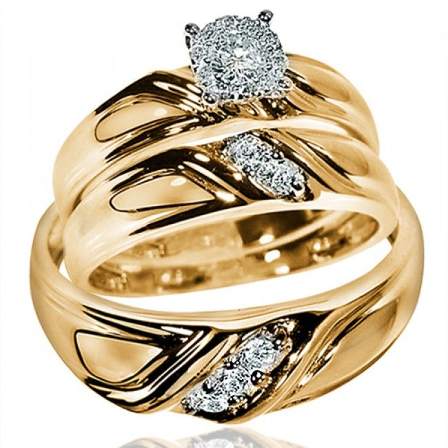 Diamond Wedding 14k Yellow Gold Fn Trio His Hers Bridal Band Engagement Ring Set In 2020 Wedding Ring Bands Yellow Gold Engagement Rings Vintage Ruby Wedding Rings