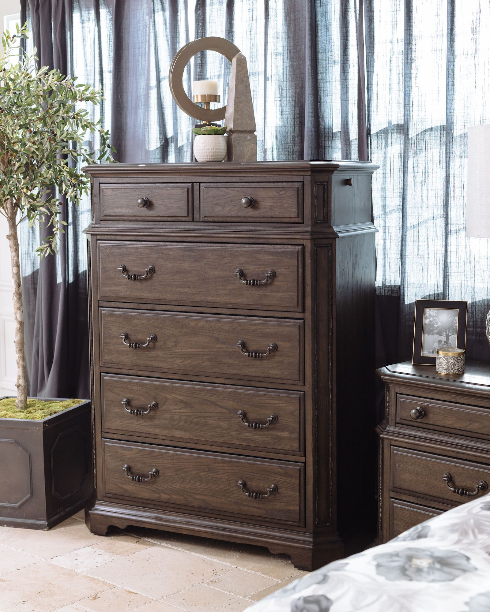 58 Five Drawer Traditional Chest In Truffle Mathis Brothers