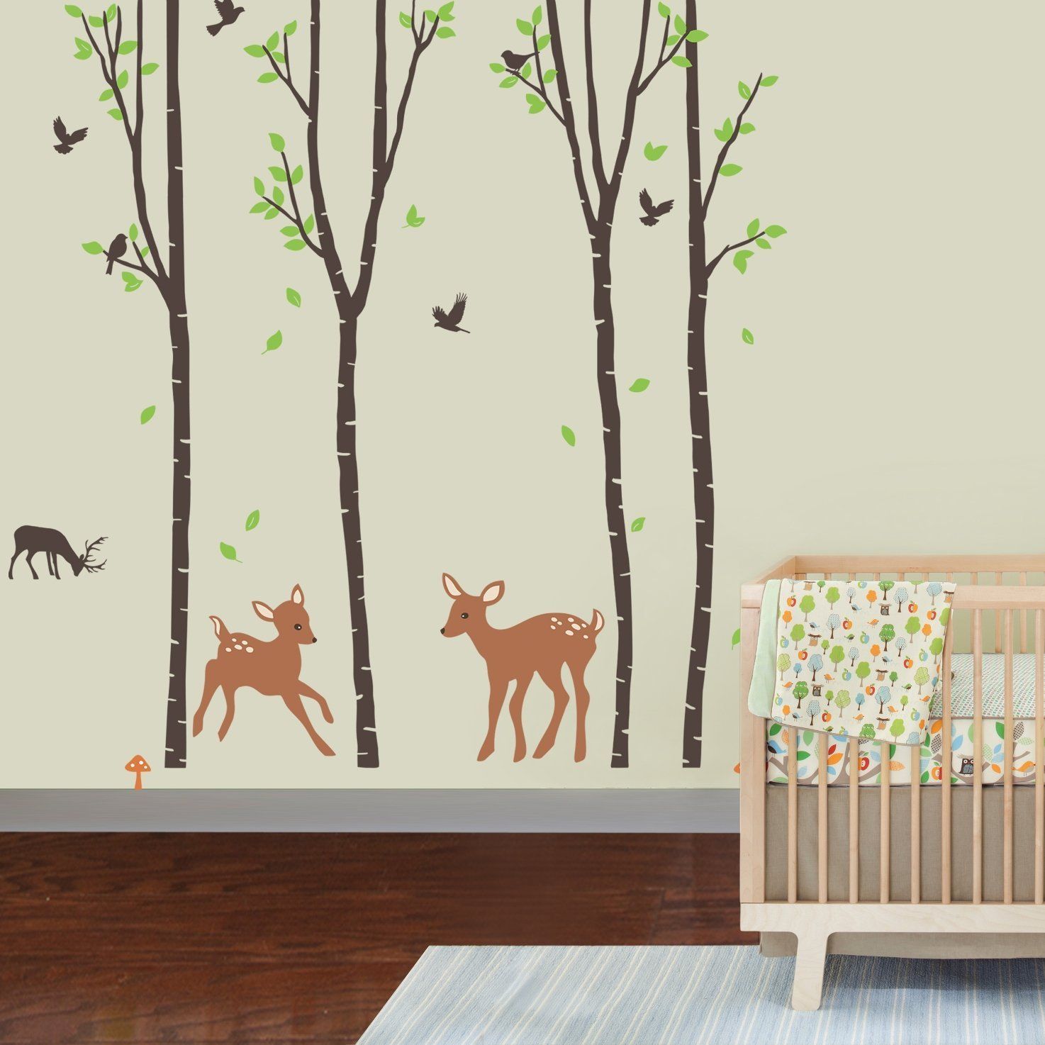 Giant Wall Sticker Decals Birch Tree Forest With Deers And - Nursery wall decals animals