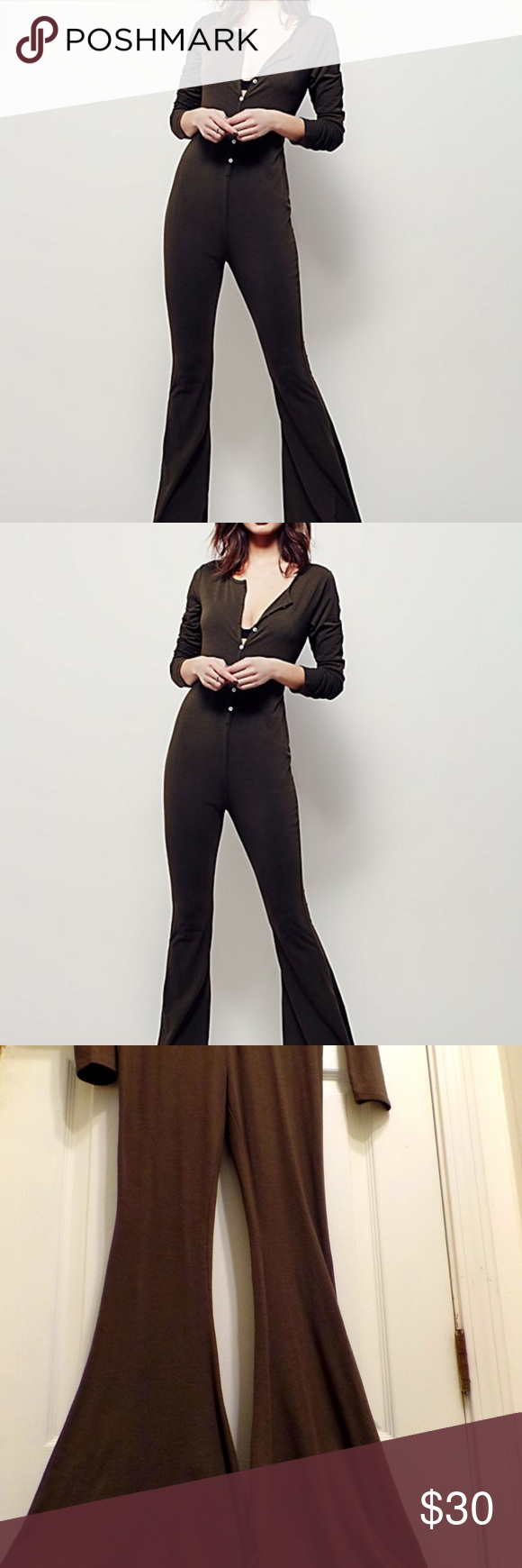 Free People jumpsuit XS This Free People jumpsuit is super comfy and perfect for lounging in style. Details include buttons up the front, elephant flares, and forest green in color. The size is XS but like many Free People items, it would fit anywhere from an XS to a small medium. Cotton, stretches. Free People Other