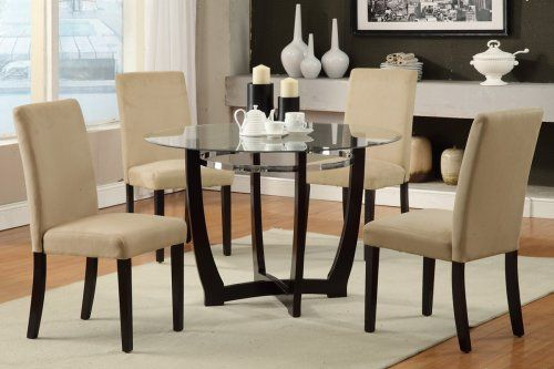 F2348+F1302 Stratford Dining Table + 4 Hazelnut Chairs $279 With Beige  Chairs
