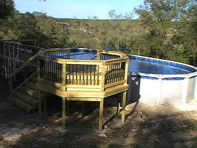 Building above ground pool deck designs wood decks trex for Above ground pool stair ideas