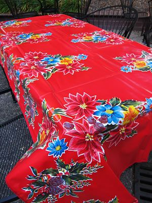 Poinsetta On Red Rectangular Oilcloth Tablecloth Oil Cloth