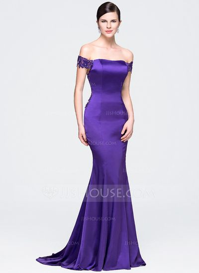 [US$ 145.49] Trumpet/Mermaid Off-the-Shoulder Court Train Satin Lace Evening Dress With Beading Sequins
