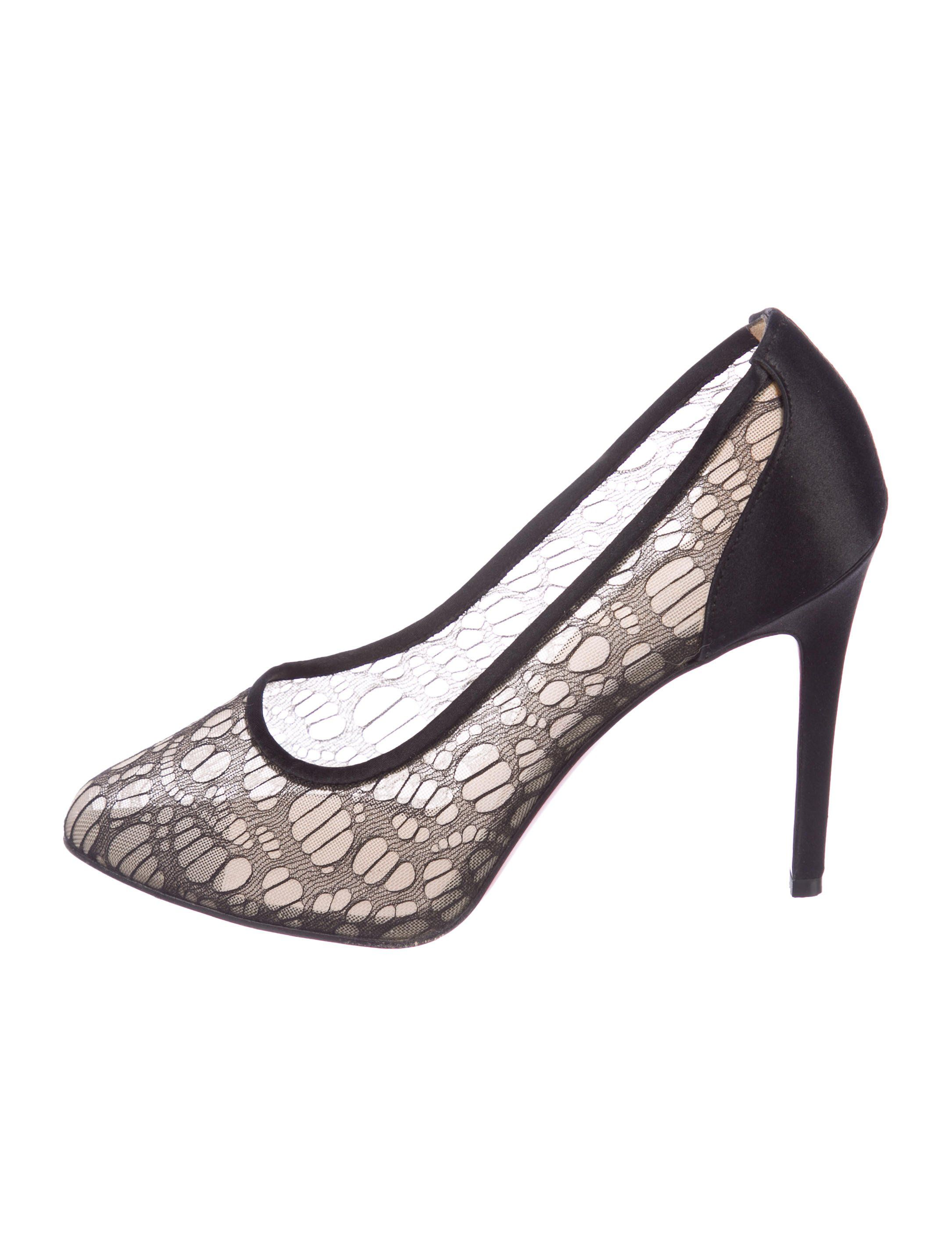 6ae81d116fdc Black mesh Christian Louboutin round-toe pumps with satin trim at counters  and top lines and covered heels.