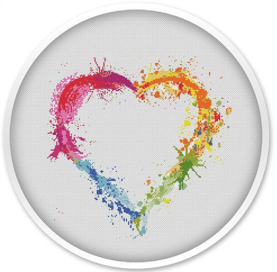 Photo of Heart cross stitch pattern, free shipping, cross stitch pdf, watercolor cross stitch pattern,  pdf cross stitch, love pattern, heart #003