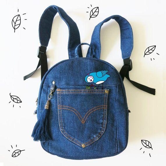 Upcycled denim backpack. Handmade old jeans rucksack