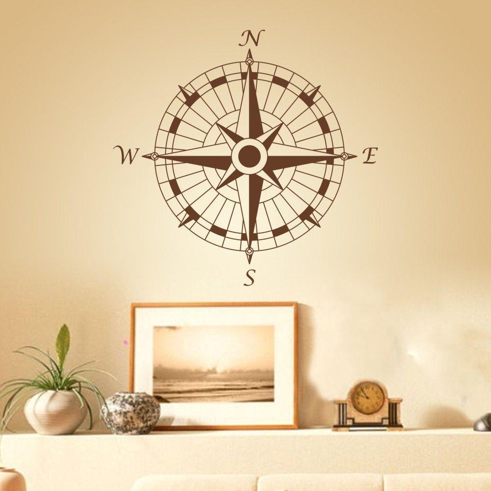 Nautical Compass Wall Decal office Vinyl Wall Sticker Art Graphic ...