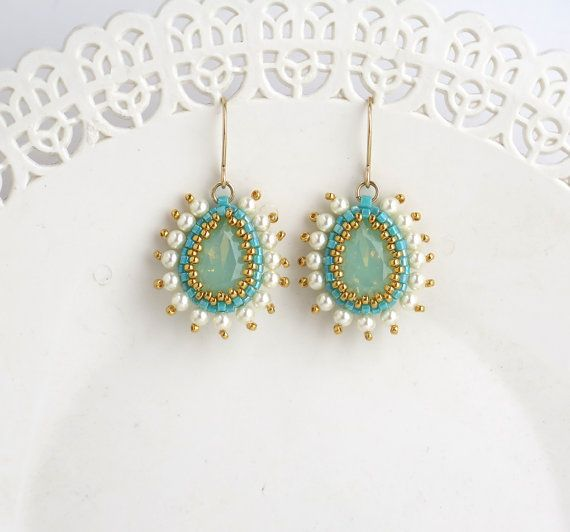 Turquoise Bridal Jewelry Gold Earring By Liorabjewelry