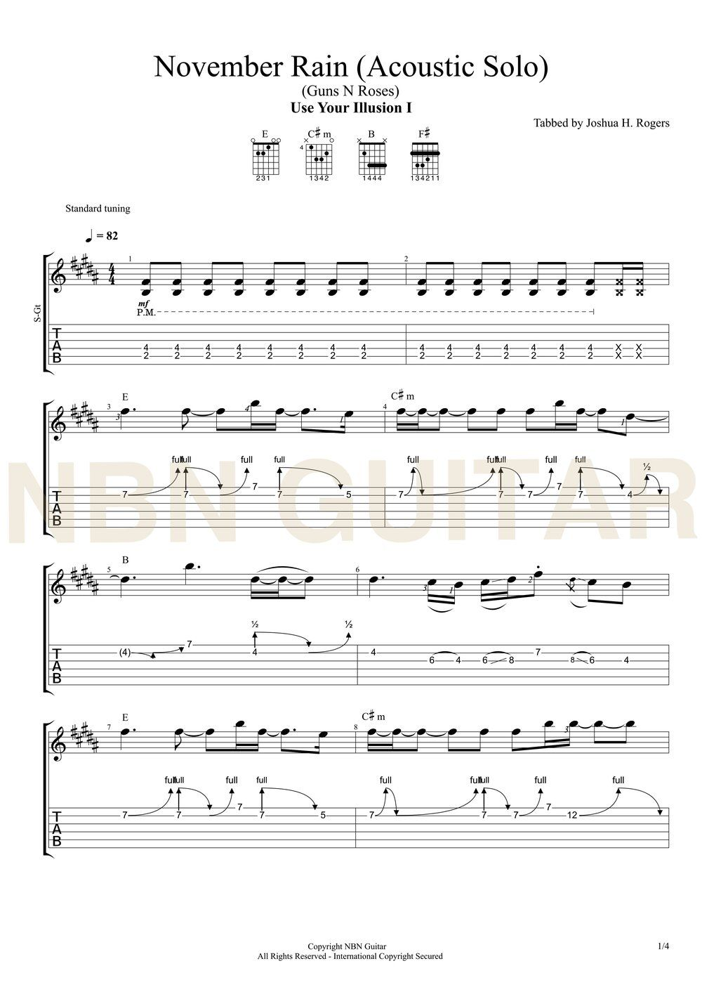 Chord Guns N Roses November rain - version 2 - Chord Gitar