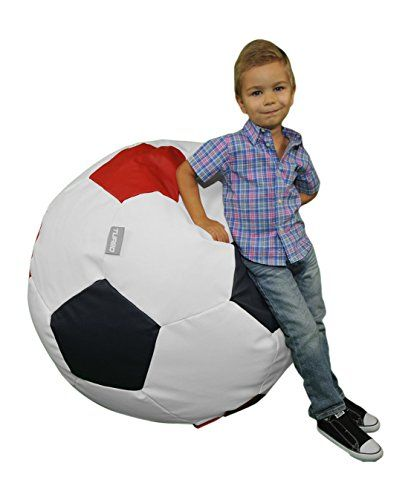 Turbo Beanbags Soccer Ball Multicolor Bean Bag Chair Large White Red Navy